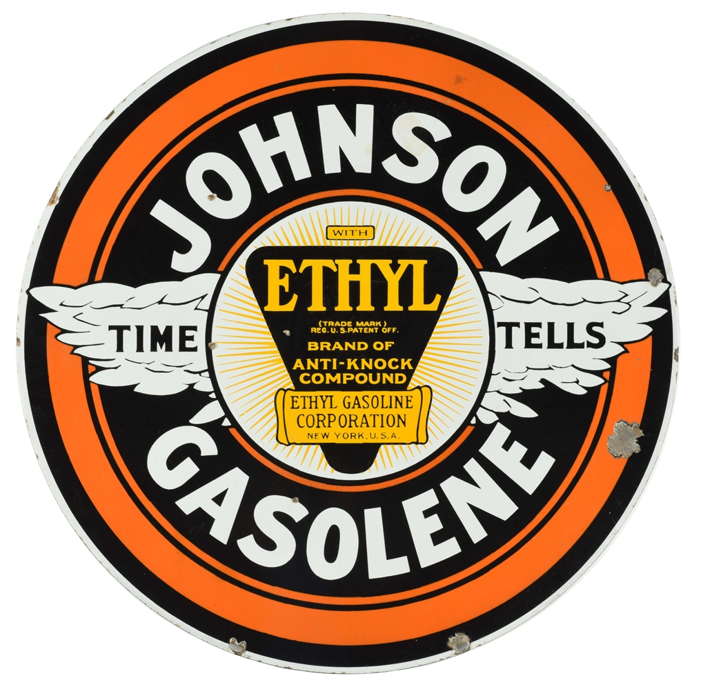 JOHNSON TIME TELLS GASOLINE PORCELAIN CURB SIGN WITH ETHYL BURST.