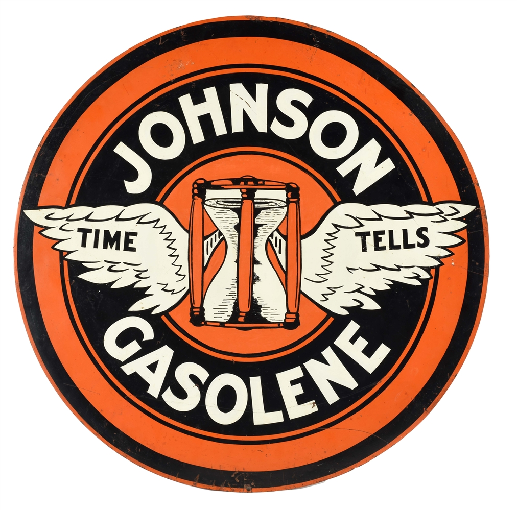 Very Rare Johnson Gasoline Time Tells Tin Curb Sign with Wing Graphic.
