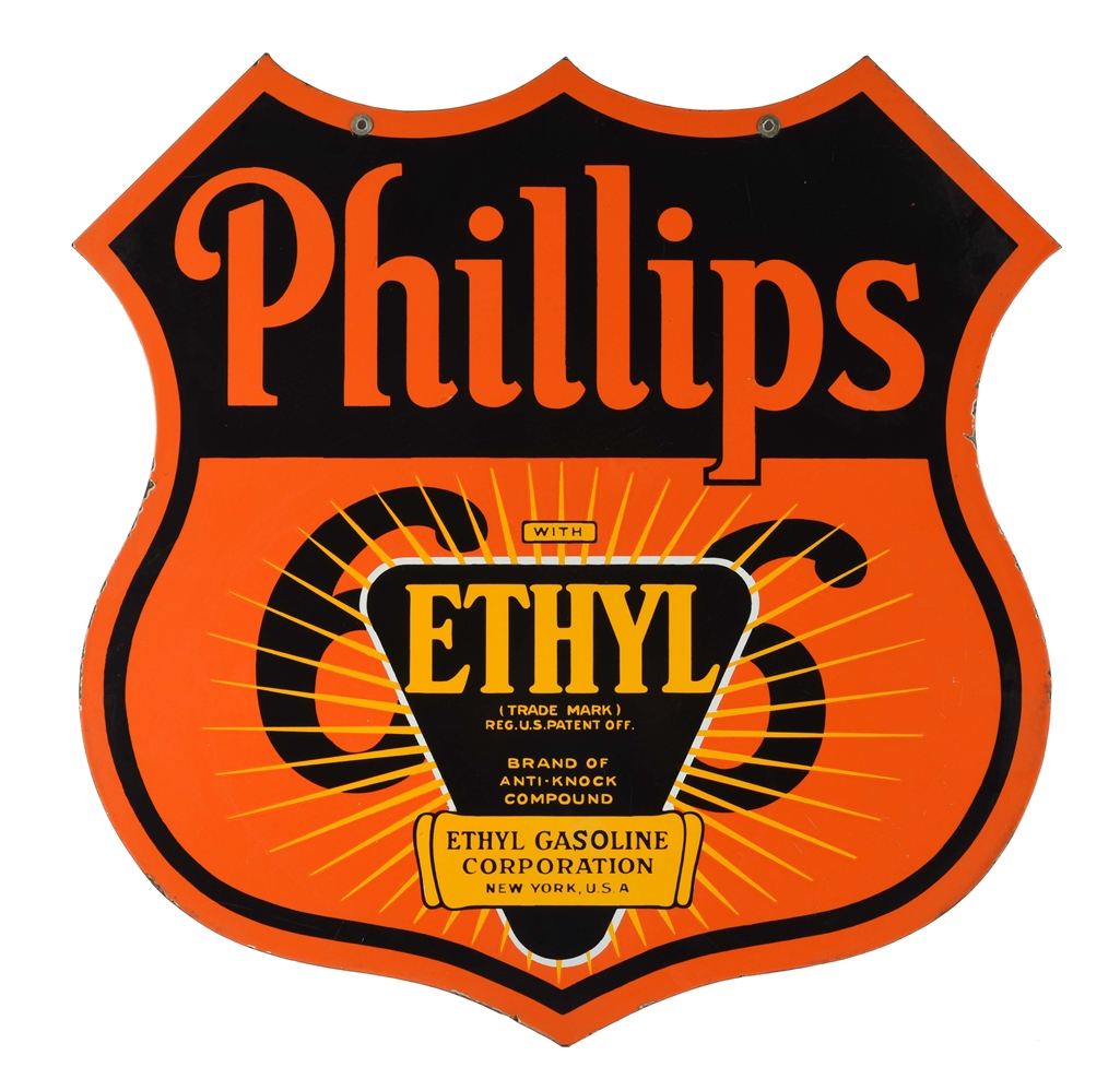 PHILLIPS 66 ETHYL GASOLINE PORCELAIN SHIELD SIGN.