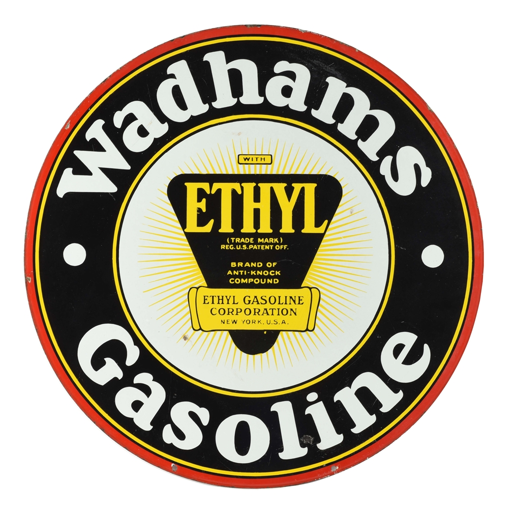 WADHAMS GASOLINE PORCELAIN CURB SIGN WITH ETHYL BURST GRAPHIC.
