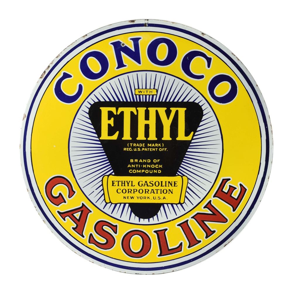 RARE CONOCO ETHYL GASOLINE PORCELAIN CURB SIGN WITH ETHYL BURST GRAPHIC.