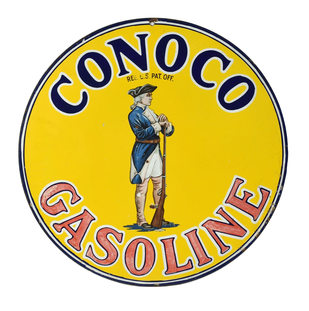 Conoco Minuteman Gasoline with Minuteman Graphic Porcelain Curb Sign.
