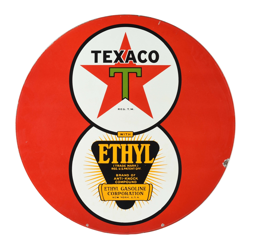 RARE TEXACO ETHYL GASOLINE 8 BALL PORCELAIN CURB SIGN.