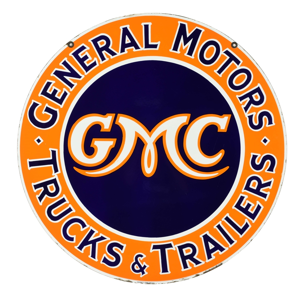 INCREDIBLE GENERAL MOTORS GMC TRUCKS & TRAILERS PORCELAIN DEALER SIGN.