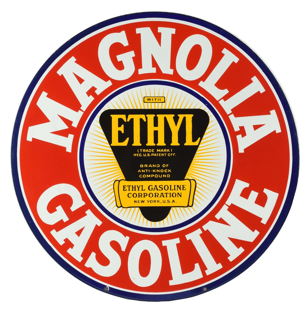 NEW OLD STOCK MAGNOLIA ETHYL GASOLINE PORCELAIN CURB SIGN.