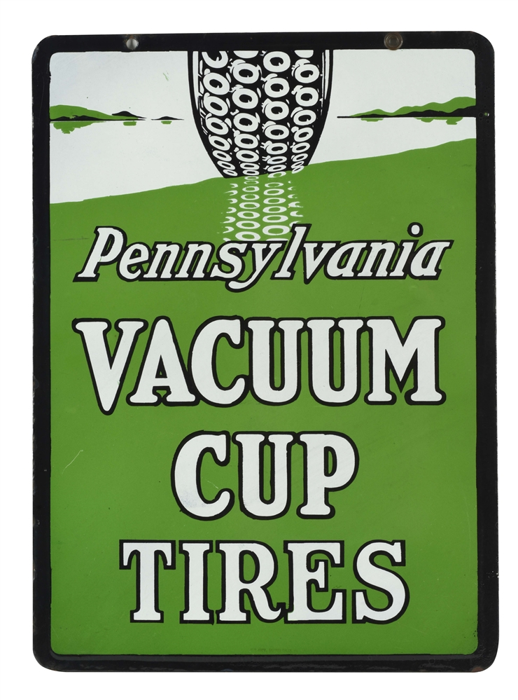 OUTSTANDING PENNSYLVANIA VACUUM CUP TIRES PORCELAIN SIGN WITH TIRE GRAPHIC.