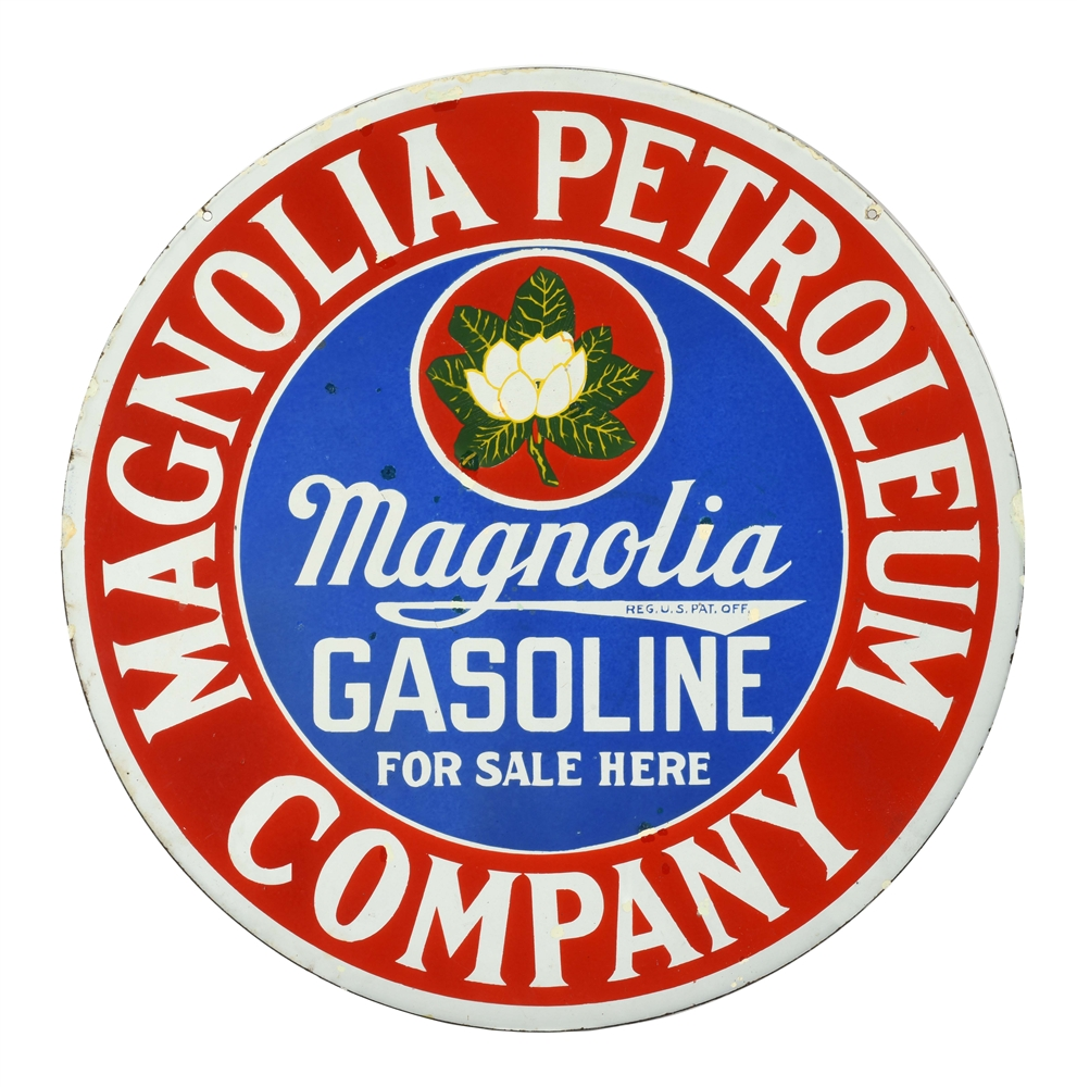 MAGNOLIA GASOLINE FOR SALE HERE PORCELAIN CURB SIGN WITH FLOWER GRAPHIC.
