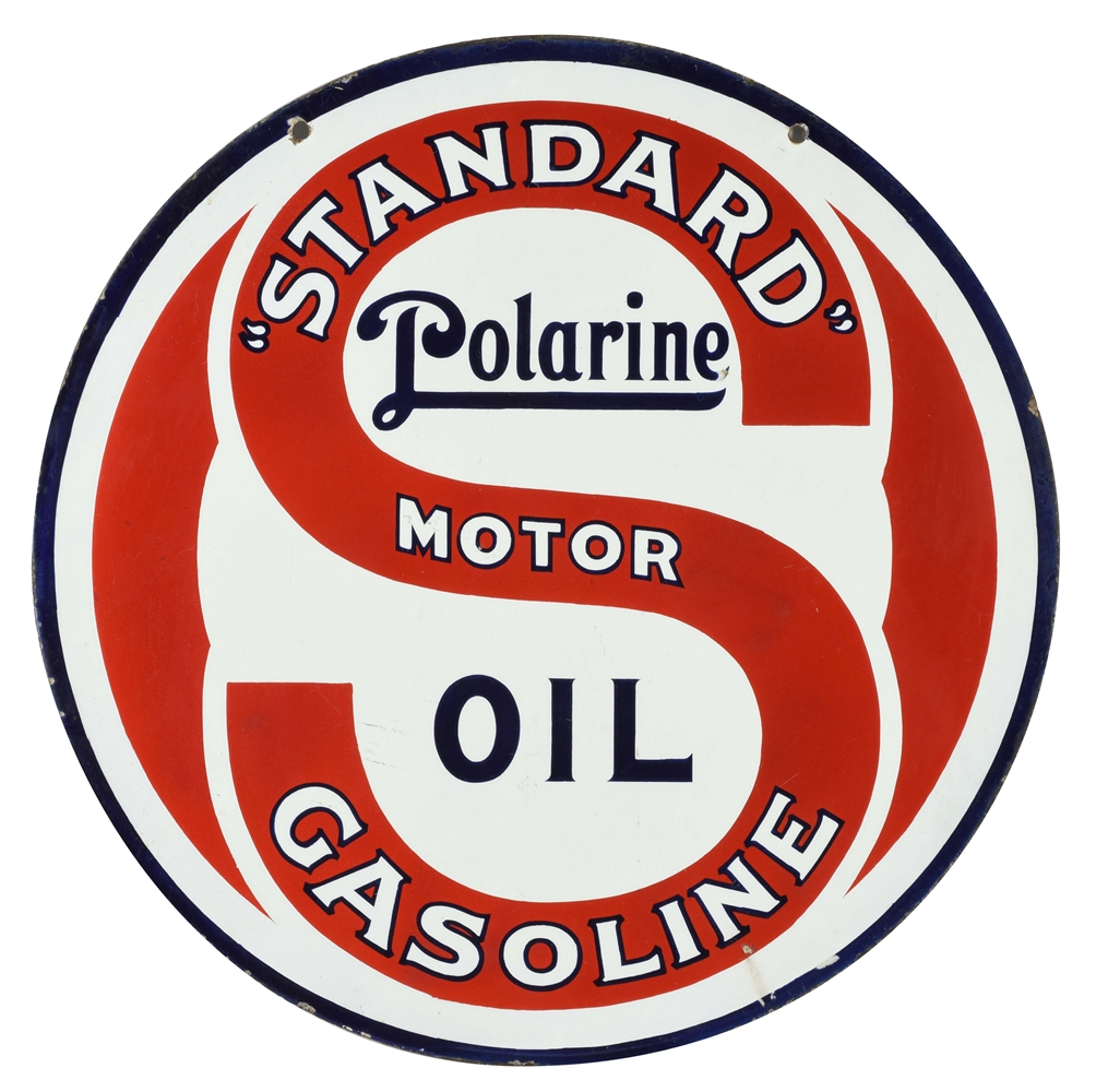 STANDARD GASOLINE OF NEW JERSEY & POLARINE MOTOR OIL PORCELAIN CURB SIGN.