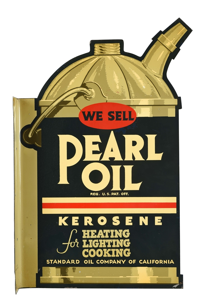 NEW OLD STOCK STANDARD OIL OF CALIFORNIA PEARL OIL DIE-CUT TIN FLANGE.