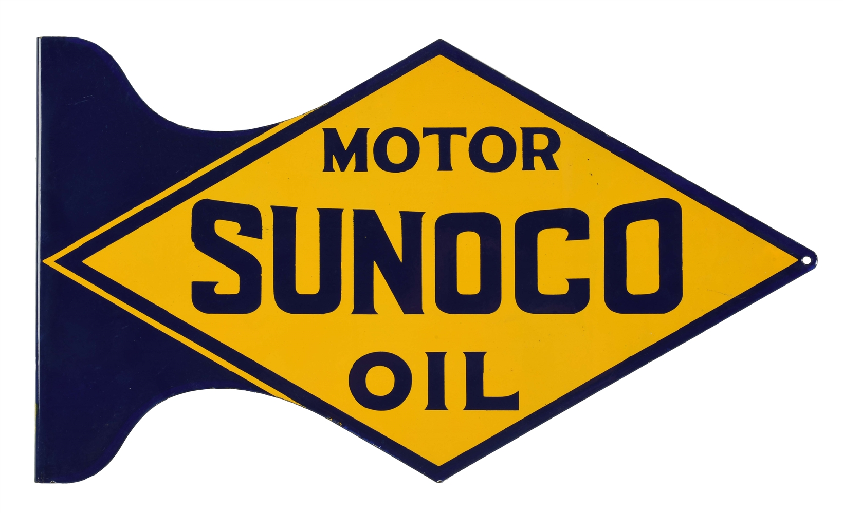 NEW OLD STOCK SUNOCO MOTOR OIL DIE CUT PORCELAIN FLANGE SIGN.