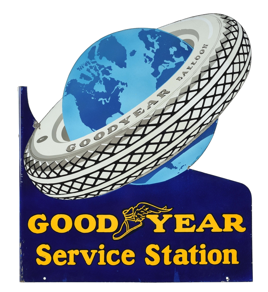 Goodyear Tires Service Station Die-Cut Porcelain Flange Sign with Tire & Globe Graphic.