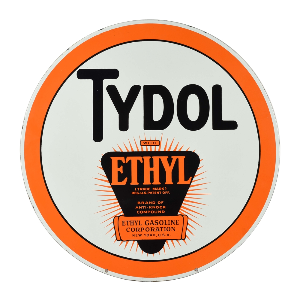 INCREDIBLE TYDOL ETHYL PORCELAIN CURB SIGN WITH ETHYL BURST GRAPHIC.