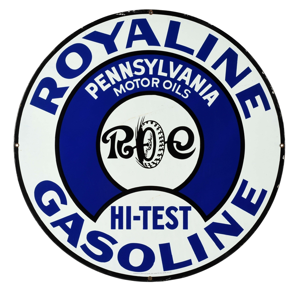 INCREDIBLE ROYALINE HI TEST GASOLINE PORCELAIN CURB SIGN WITH TIRE GRAPHIC.