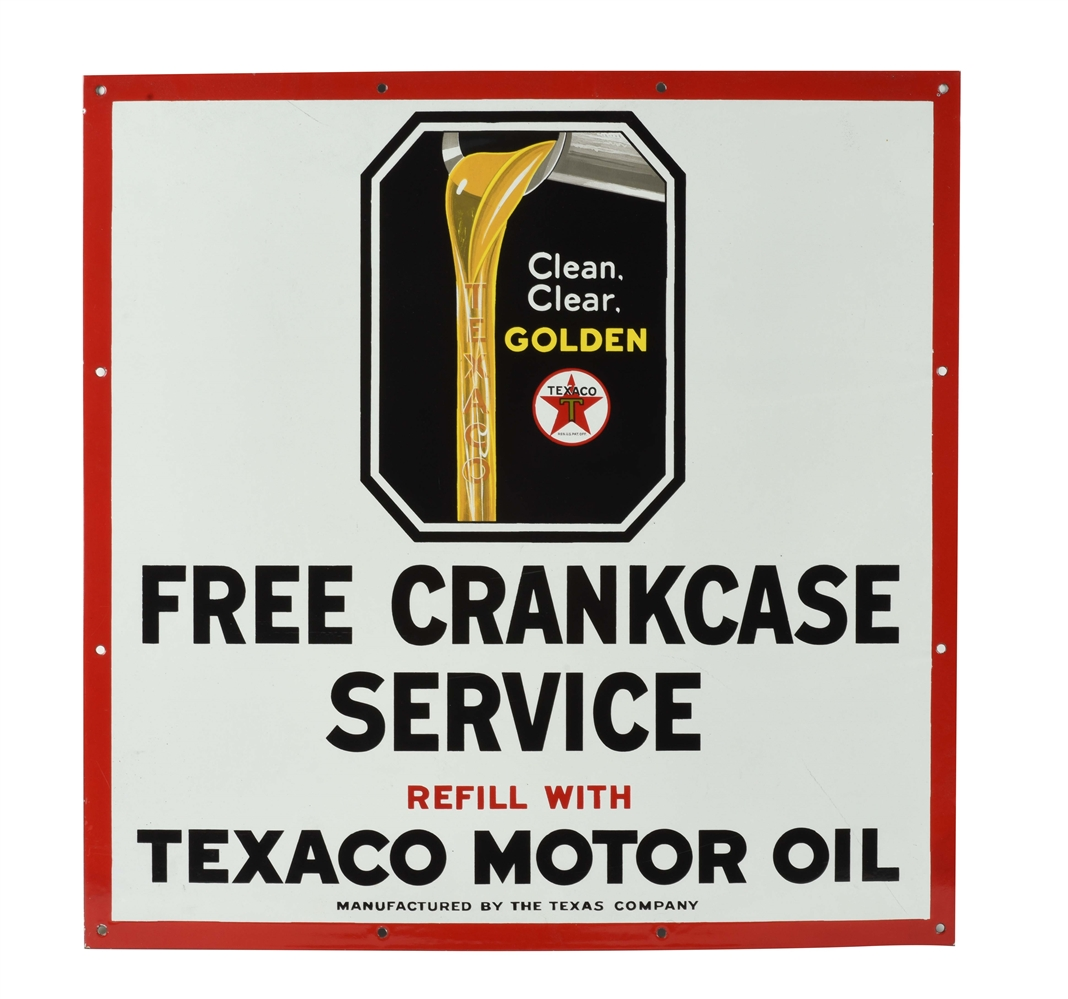 NEW OLD STOCK TEXACO MOTOR OIL FREE CRANKCASE SERVICE PORCELAIN SERVICE STATION SIGN.