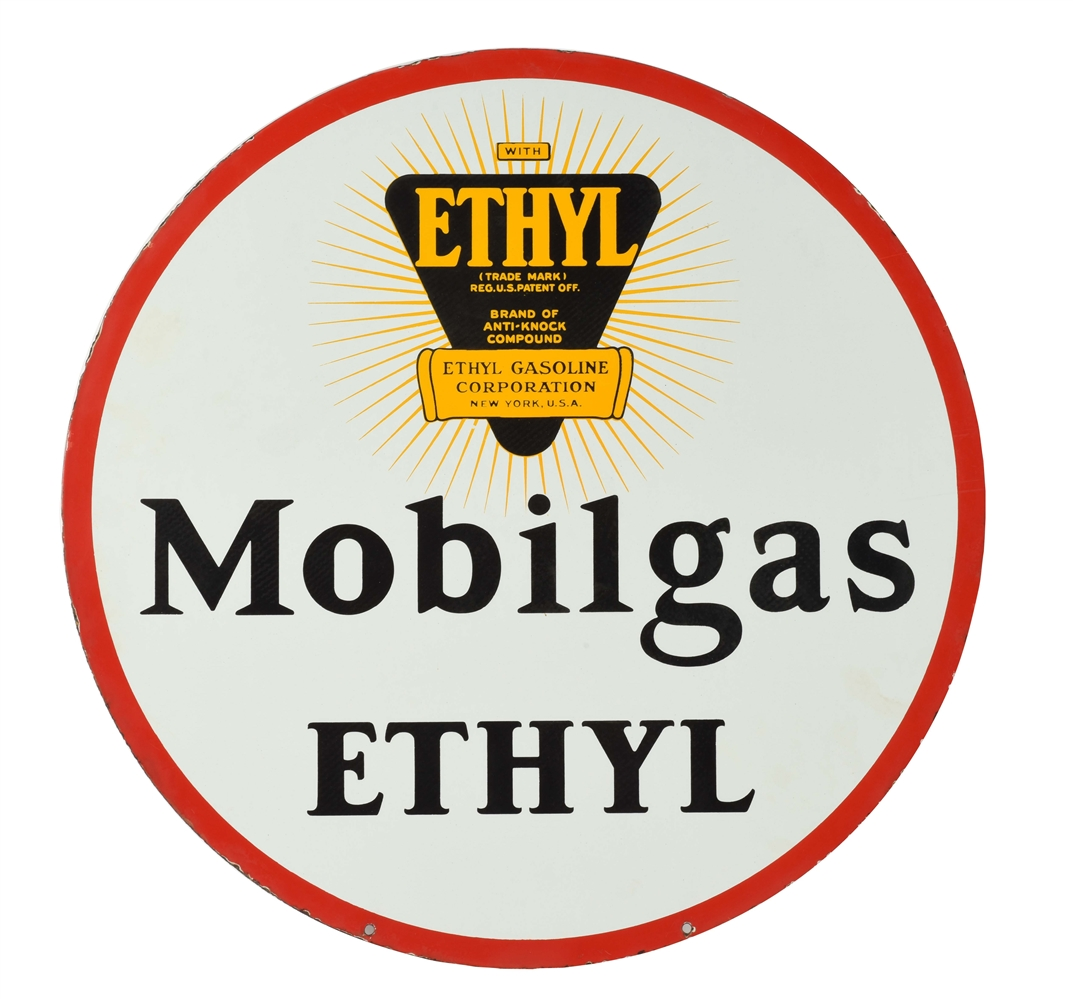 MOBILGAS ETHYL PORCELAIN CURB SIGN WITH ETHYL BURST GRAPHIC.