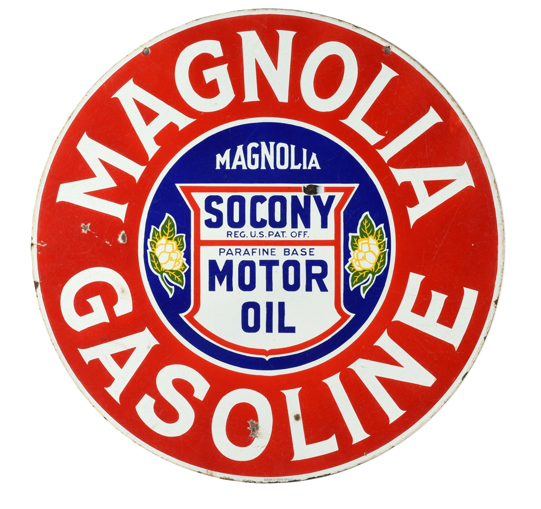 RARE MAGNOLIA GASOLINE & SOCONY MOTOR OIL PORCELAIN CURB SIGN WITH SOCONY SHIELD GRAPHIC.