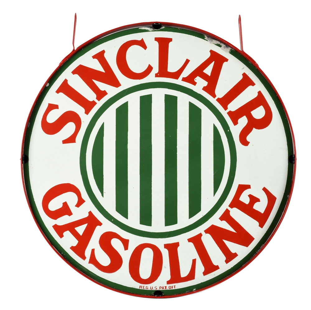 "VERY RARE SINCLAIR GASOLINE 30"" PORCELAIN CURB SIGN WITH BAR GRAPHIC."