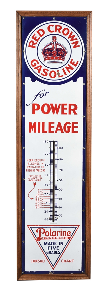 RED CROWN GASOLINE FOR POWER MILEAGE & POLARINE MOTOR OIL PORCELAIN THERMOMETER.