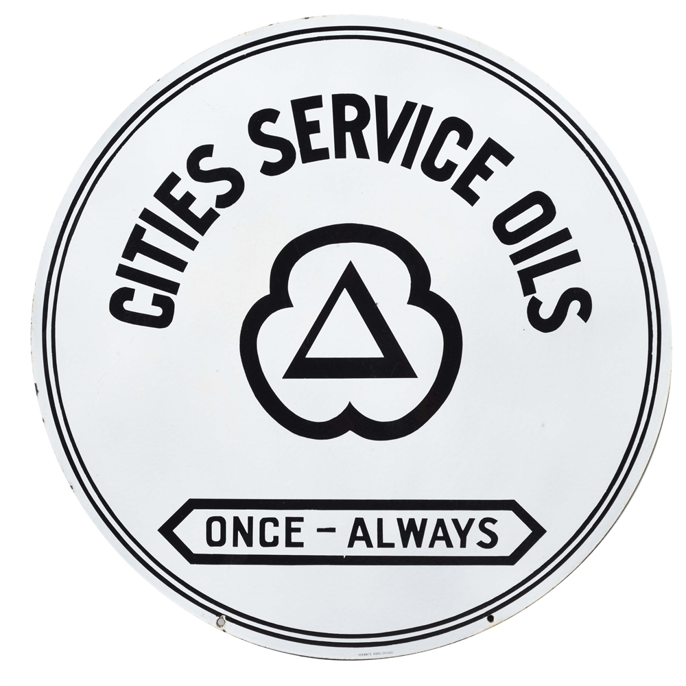Outstanding Cities Service Oils Porcelain Service Station Sign.