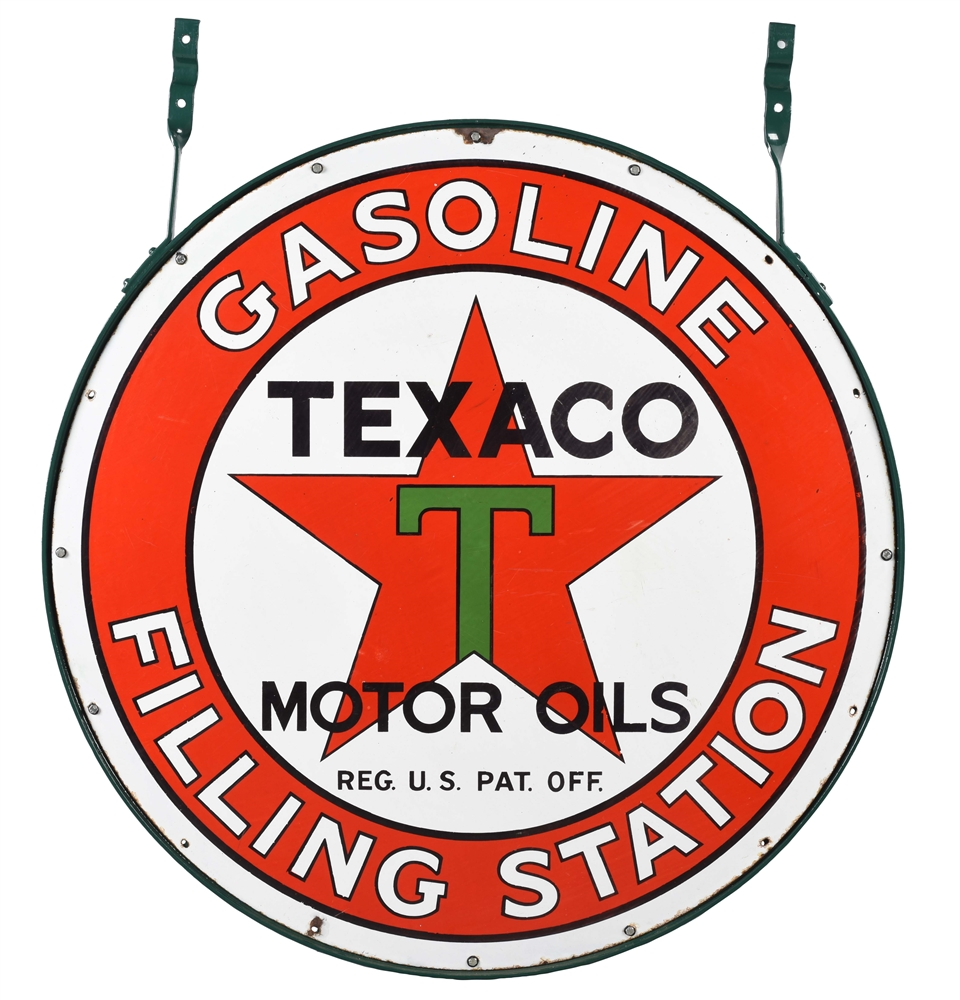 OUTSTANDING TEXACO GASOLINE FILLING STATION PORCELAIN SIGN.