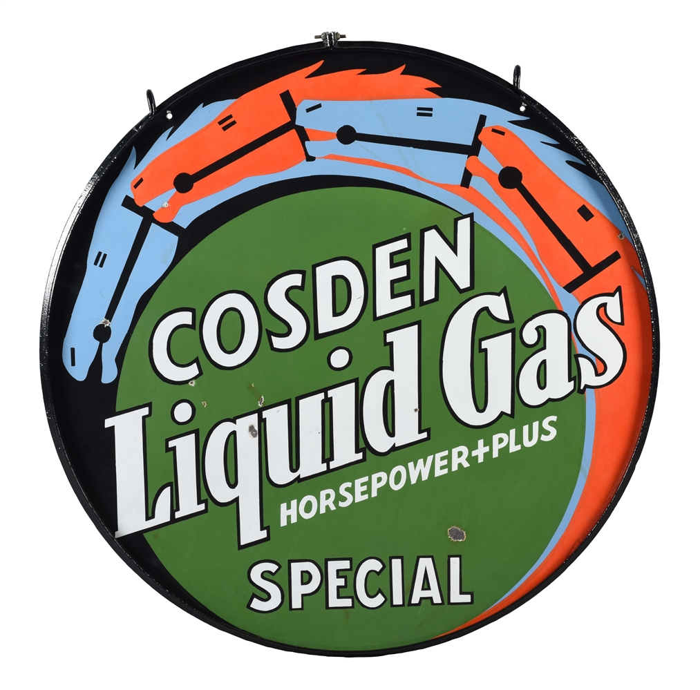 RARE COSDEN GASOLINE LIQUID GAS HORSEPOWER PLUS SPECIAL PORCELAIN SIGN WITH HORSE GRAPHICS.