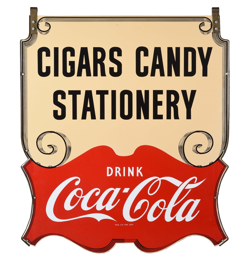OUTSTANDING COCA COLA CIGARS CANDY & STATIONERY DIE-CUT PORCELAIN SIGN WITH METAL HANGING BRACKETS.