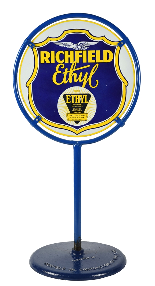 RICHFIELD ETHYL GASOLINE PORCELAIN LOLLIPOP CURB SIGN WITH EAGLE GRAPHIC.