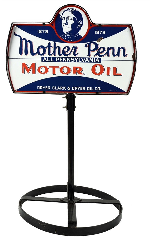Very Rare Mother Penn Motor Porcelain Curb Sign with Mother Penn Graphic.