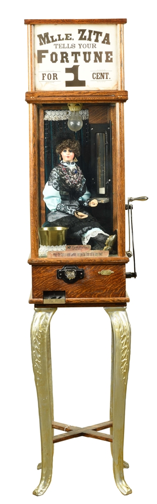 1¢ ROOVER BROTHERS CO. MLLE. ZITA FORTUNE TELLER ARCADE MACHINE.