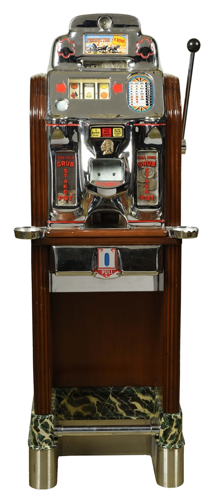 **$1 O.D. JENNINGS PROSPECTOR CONSOLE SLOT MACHINE.
