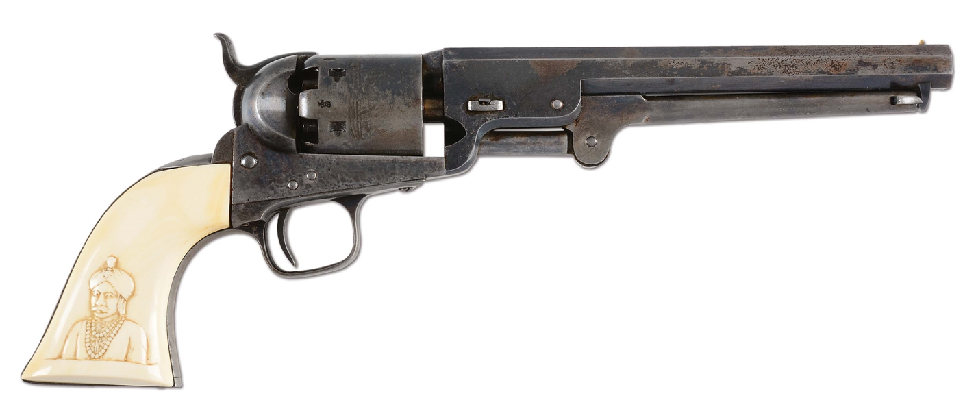 (A) HISTORIC LONDON COLT CARVED IVORY-HANDLED MODEL 1851 NAVY PERCUSSION REVOLVER (1855).