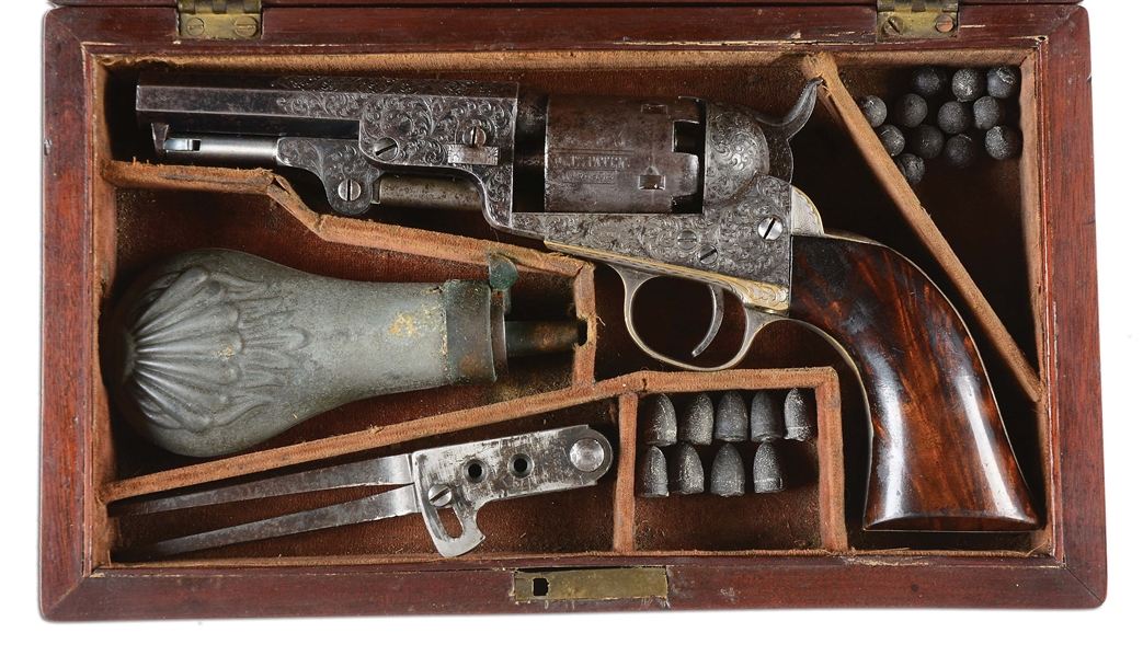 "(A) FACTORY CASED & ENGRAVED ""FROM THE INVENTOR"" COLT MODEL 1849 POCKET PERCUSSION REVOLVER."