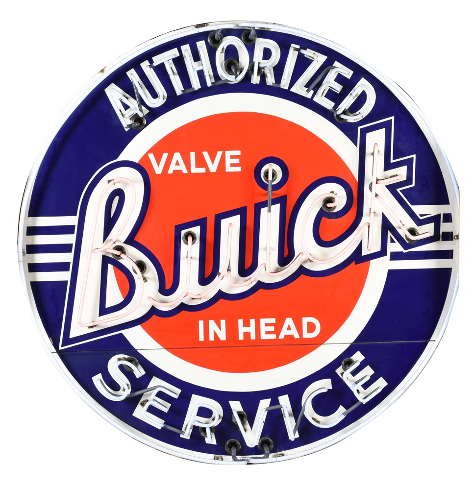 OUTSTANDING BUICK VALVE IN HEAD AUTHORIZED SERVICE DEALERSHIP PORCELAIN NEON SIGN.