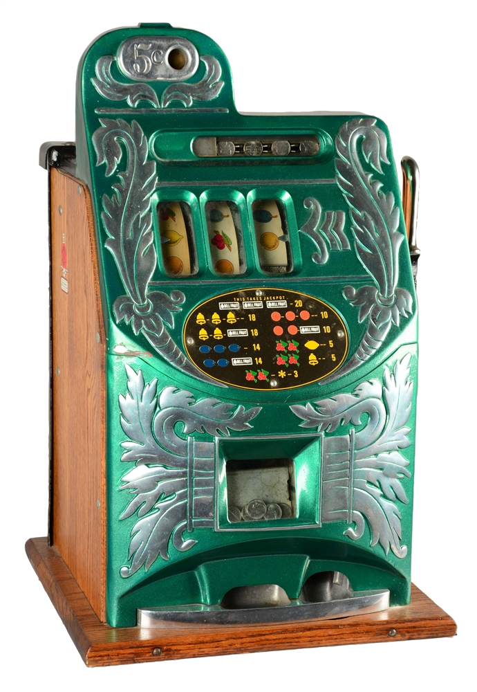 **5¢ MILLS NOVELTY CO. EXTRA BELL SLOT MACHINE.