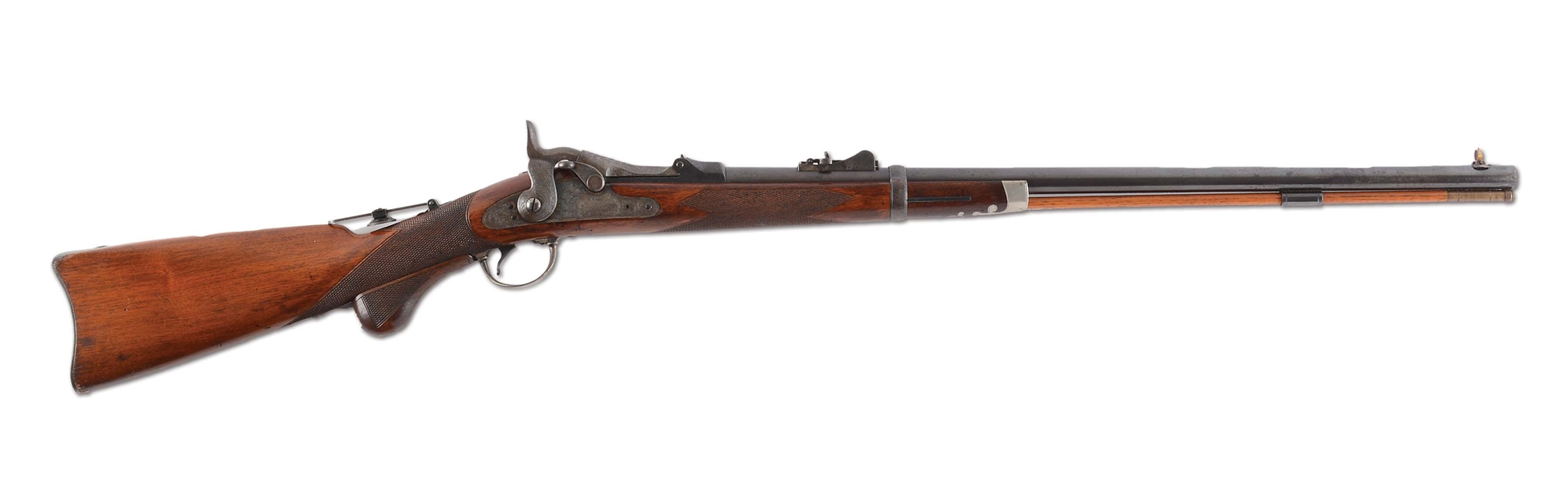 (A)  RARE MODEL 1875 SPRINGFIELD 3RD TYPE OFFICER'S MODEL TRAPDOOR SINGLE SHOT RIFLE. CAL. 45-70.