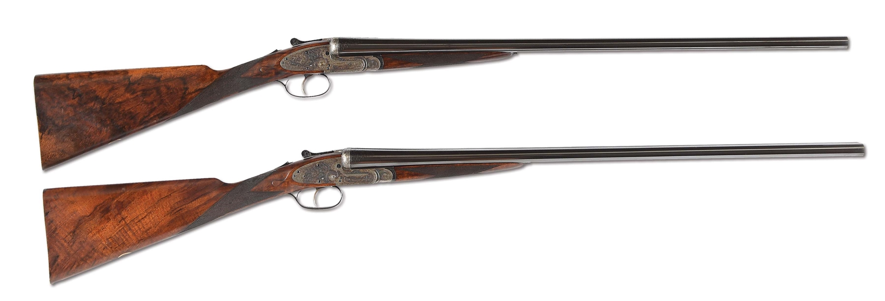 "(C) LOVELY PAIR OF 16 GAUGE CHURCHILL ""PREMIERE"" LONG BARRELED EASY OPENING, SIDELOCK EJECTOR, SELECTIVE SINGLE TRIGGER SHOTGUNS IN THEIR ORIGINAL VC 2-GUN CASE WITH ACCESSORIES"