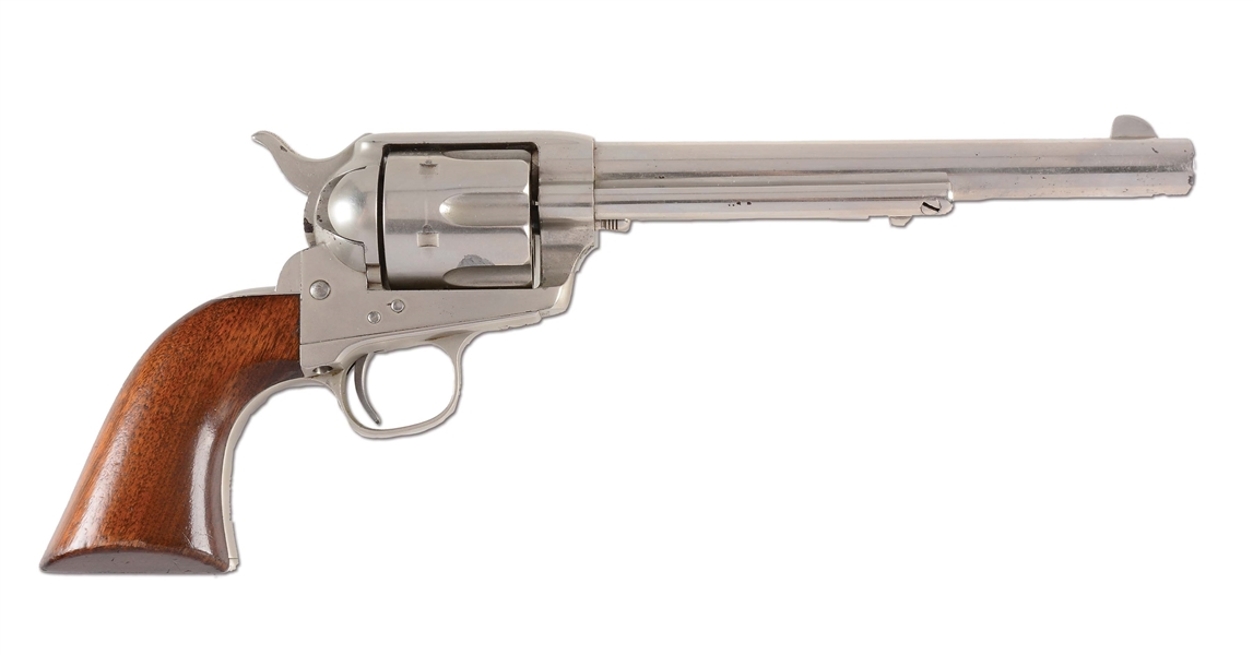 (A) OUTSTANDING FACTORY NICKEL COLT SINGLE ACTION ARMY REVOLVER (1881).
