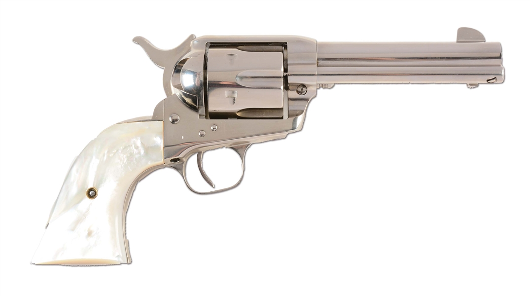 (C) UNFIRED FACTORY NICKEL COLT SINGLE ACTION ARMY WITH PEARL GRIPS (1937).