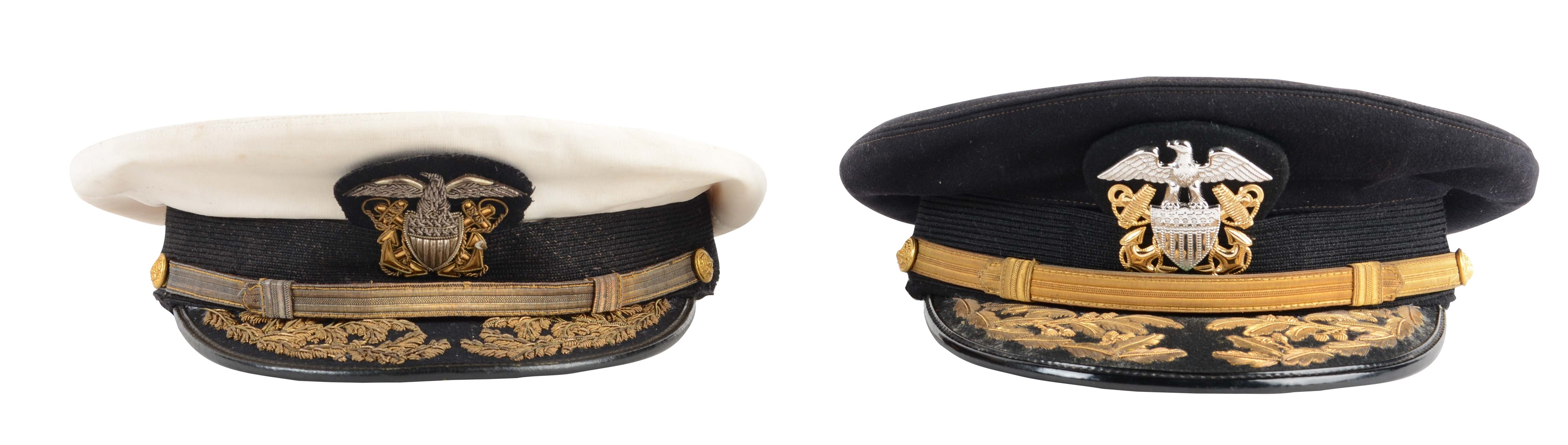 Lot Of 2: U.S. Navy Admirals Caps Worn By Admiral Paul Pihl & Admiral Henry Eccles.