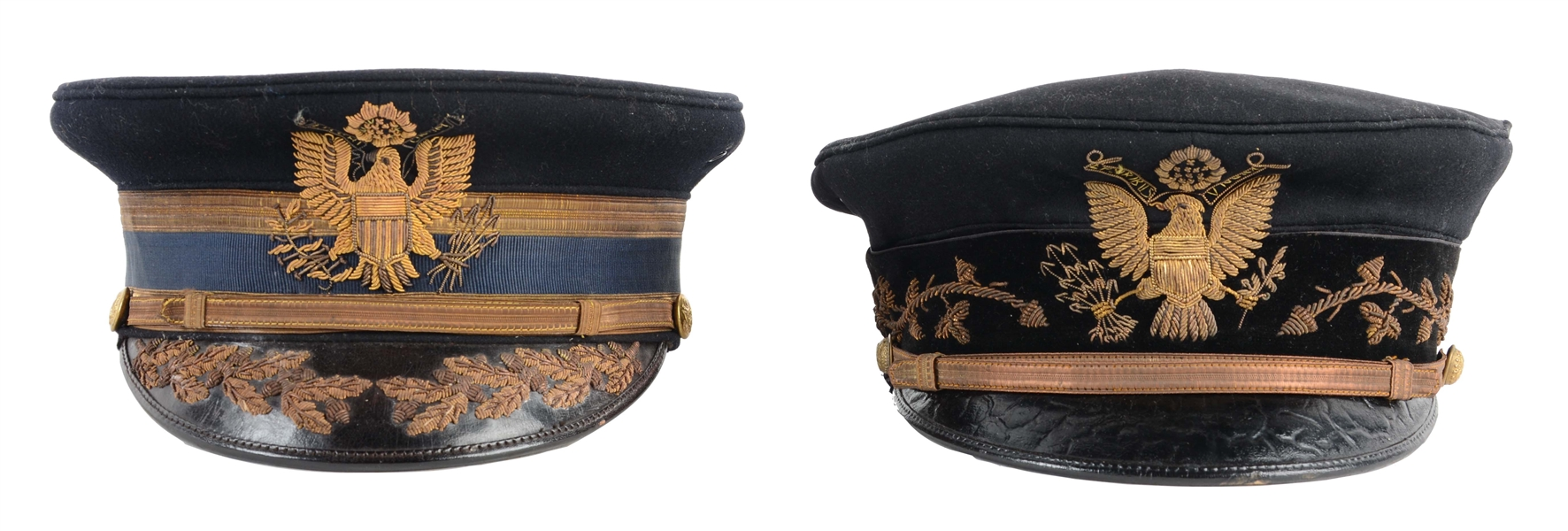 LOT OF 2: MODEL 1902 US ARMY OFFICERS DRESS CAPS.