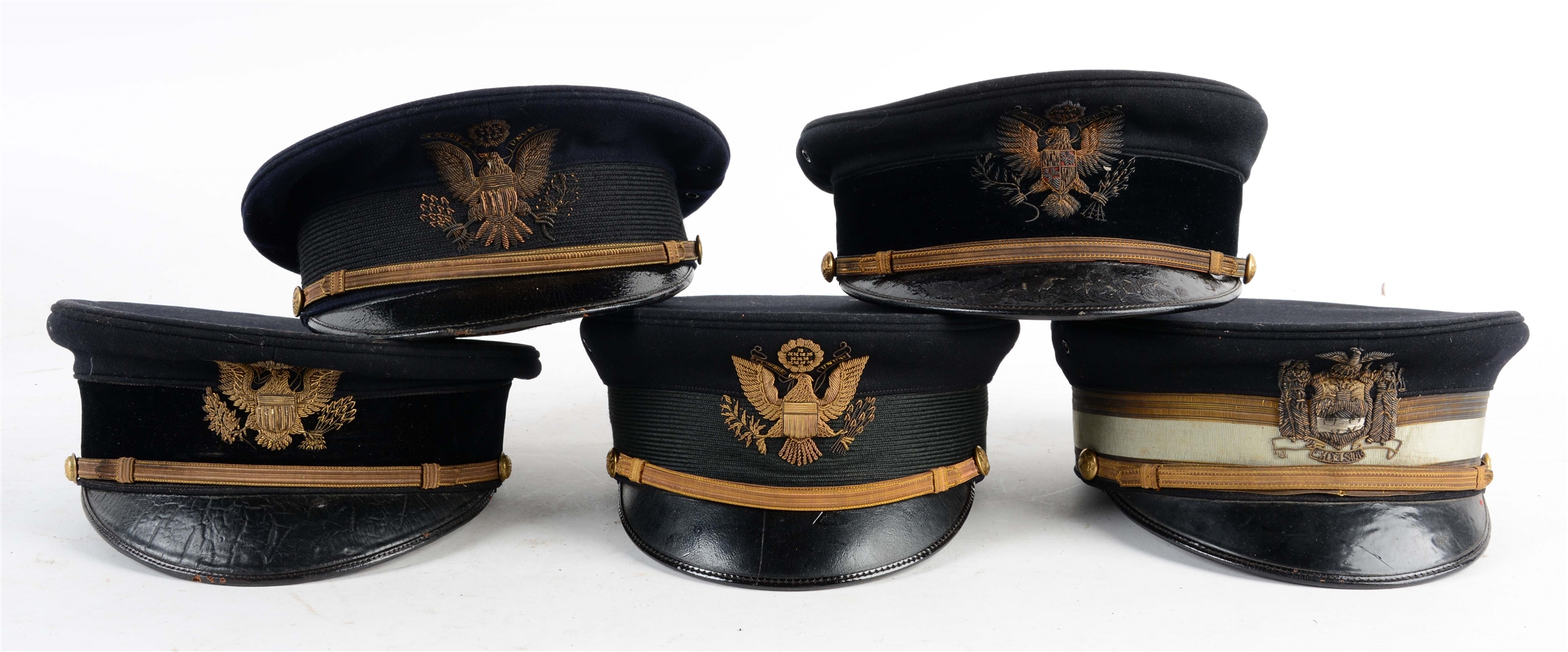 Lot Of 5: U.S. Model 1902 & Model 1912 Visor Caps.