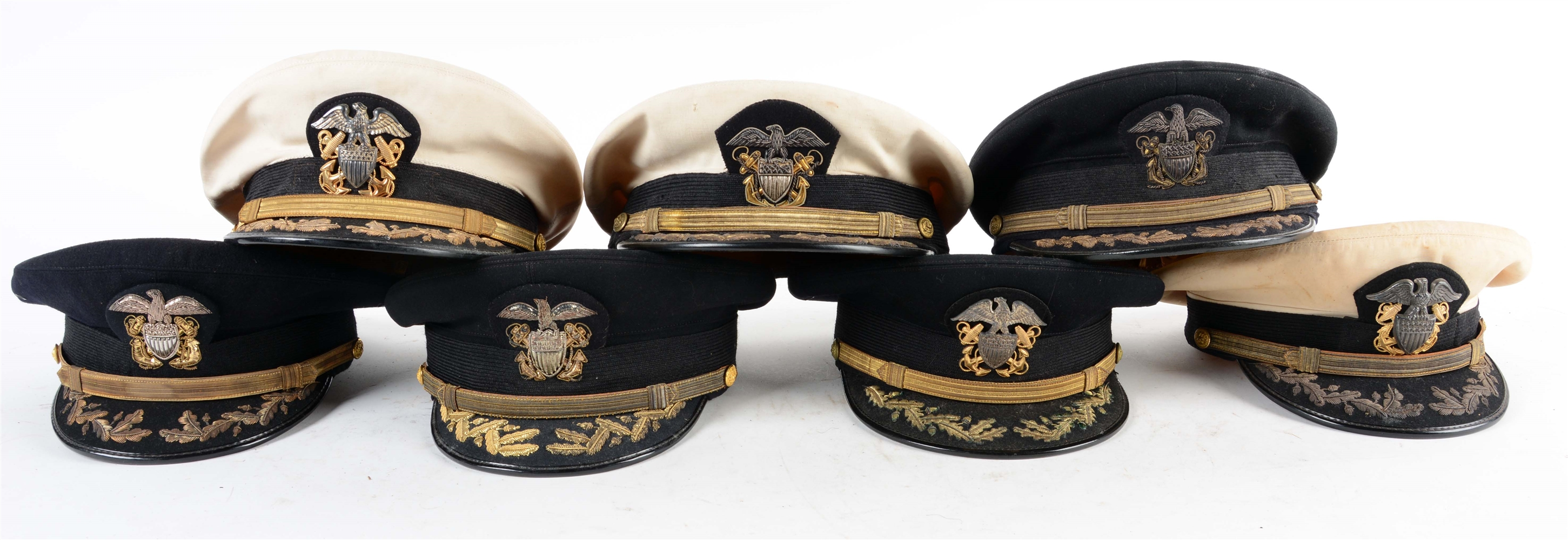 Lot Of 7: WWII Period US Navy Commander & Captain Officers Caps.