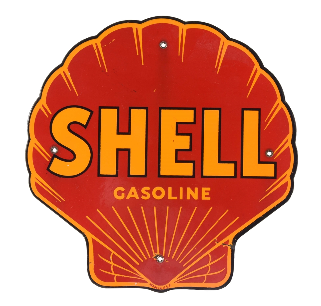 SHELL GASOLINE DIE-CUT PORCELAIN PUMP SIGN.