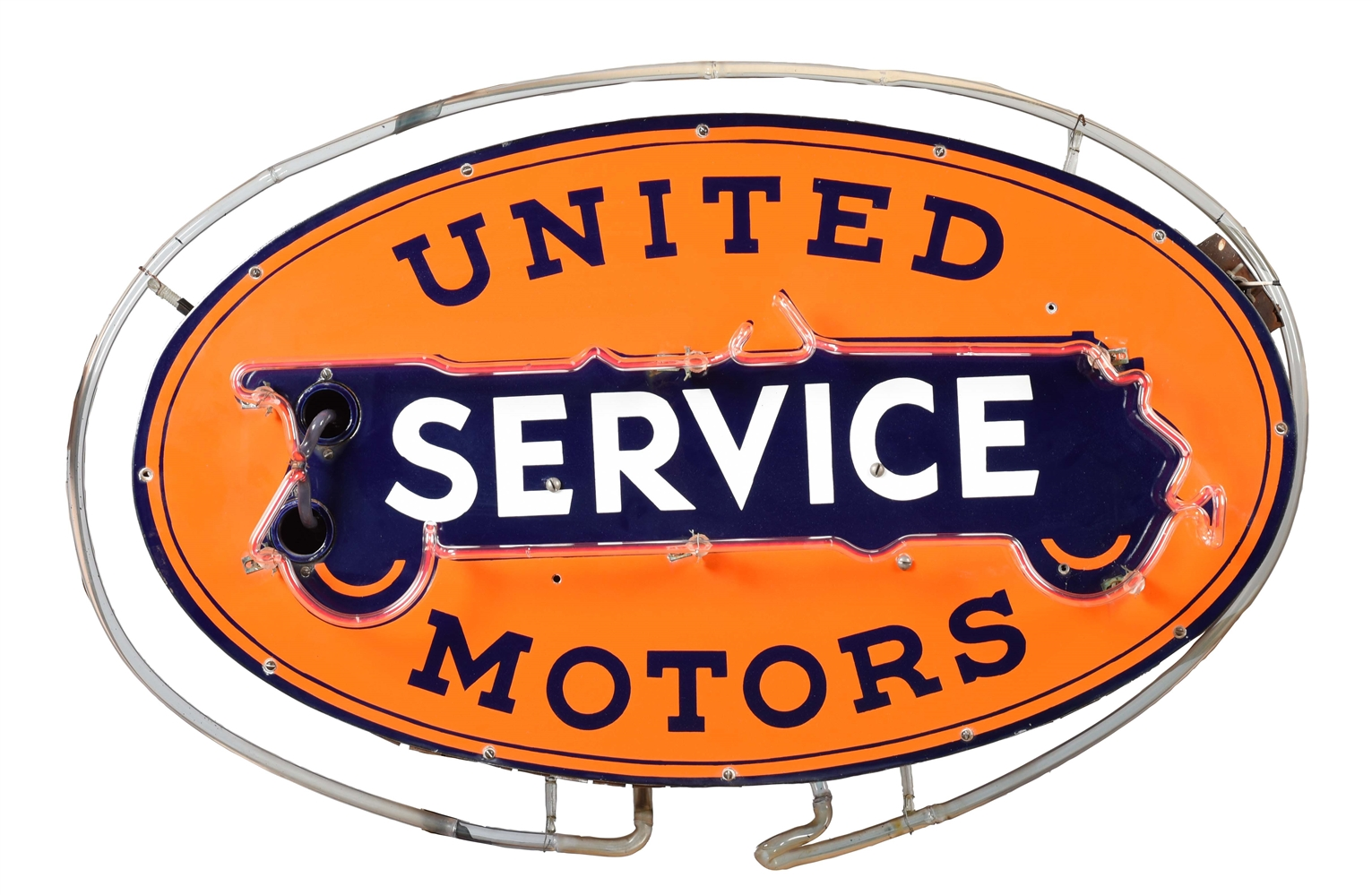 OUTSTANDING UNITED MOTORS SERVICE PORCELAIN NEON SIGNS ON ORIGINAL CAN.