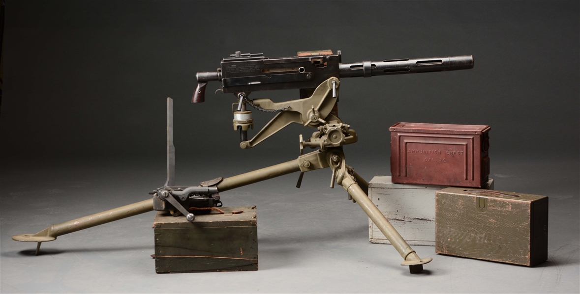 (N) EXCEPTIONALLY RARE U.S. WESTINGHOUSE BROWNING TANK MACHINE GUN ON RARE MODEL 1918 TRIPOD (CURIO & RELIC).
