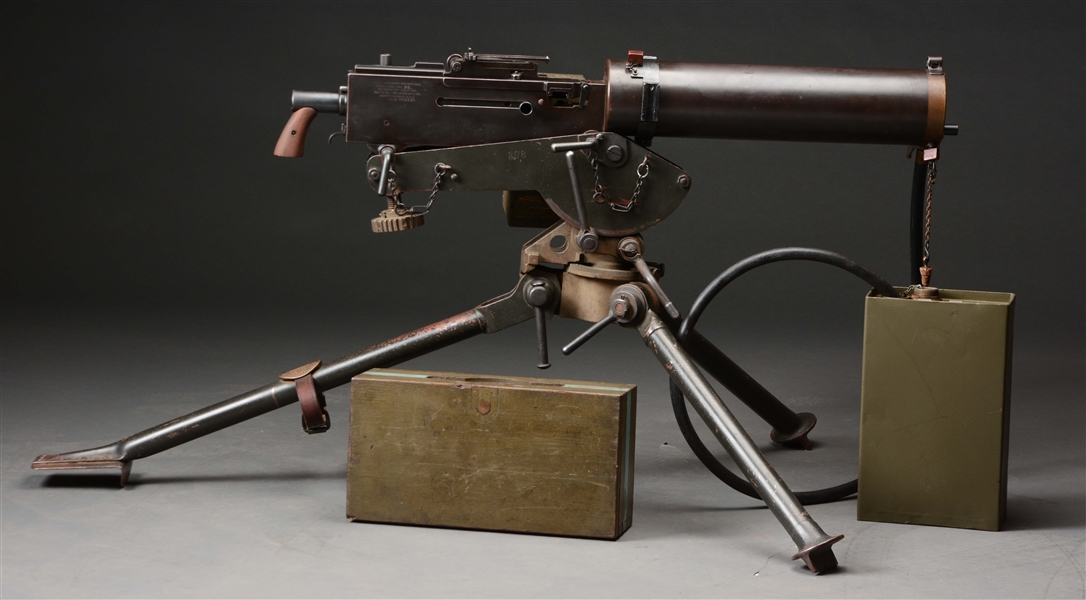 (N) RARE COLT MODEL OF 1919 WATER COOLED MACHINE GUN ON COLT COMMERCIAL TRIPOD (CURIO & RELIC)