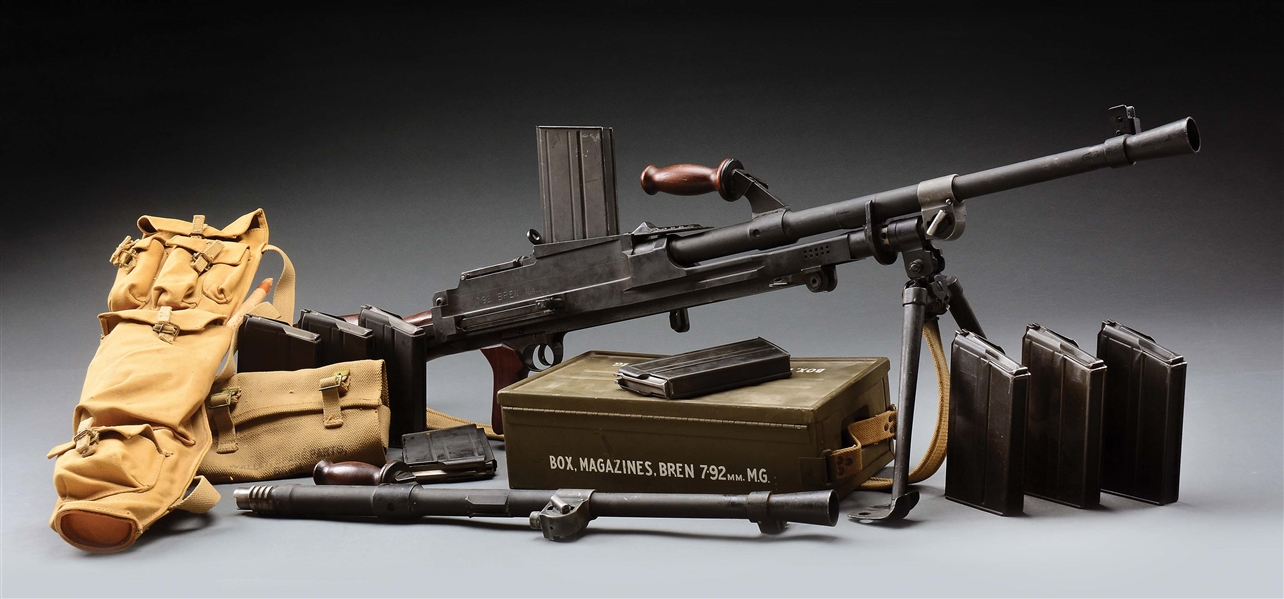 (N) SUPERB HIGH CONDITION EXTREMELY DESIRABLE ORIGINAL 8MM BREN MACHINE GUN WITH ACCESSORIES (CURIO AND RELIC).
