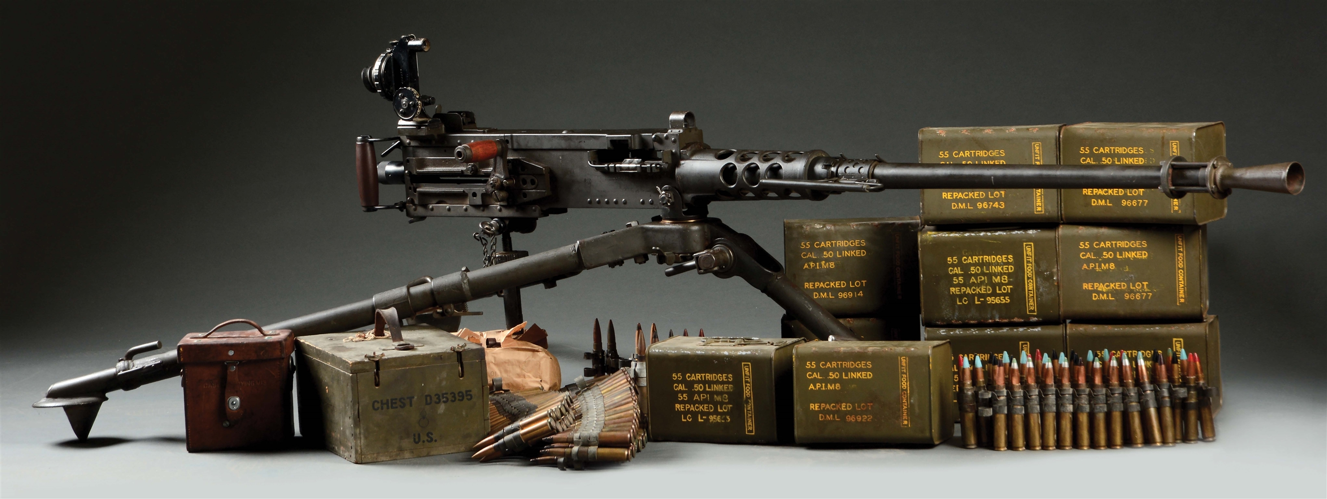 (N) WELL ACCESSORIZED AND HIGHLY COLLECTIBLE WORLD WAR II SAVAGE ARMS CORPORATION U.S. M2 HEAVY BARRELED .50 BMG MACHINE GUN (CURIO AND RELIC).