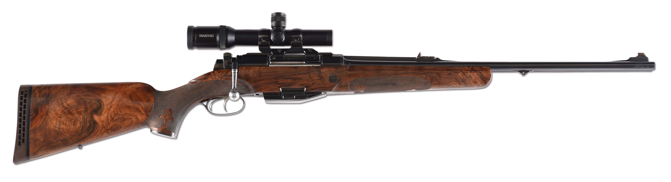 (M) INNOVATIVE SZECSEI & FUCHS BOLT ACTION DANGEROUS GAME DOUBLE RIFLE WITH SPARE MAGAZINE AND SCOPE- SERIAL NUMBER 004!.
