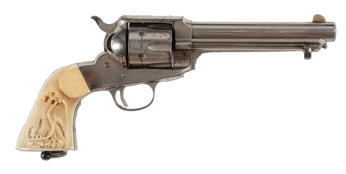 (A) REMINGTON MODEL 1888 SINGLE ACTION REVOLVER WITH CARVED IVORY GRIPS.